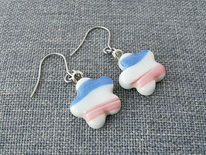Ceramic Earrings Pink and Blue Stripes