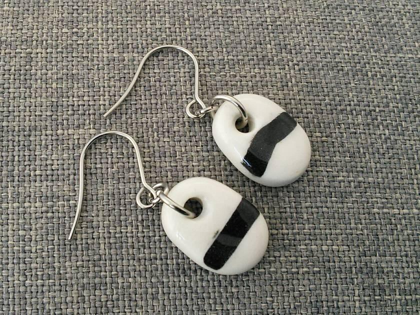 Ceramic Earrings Black and White