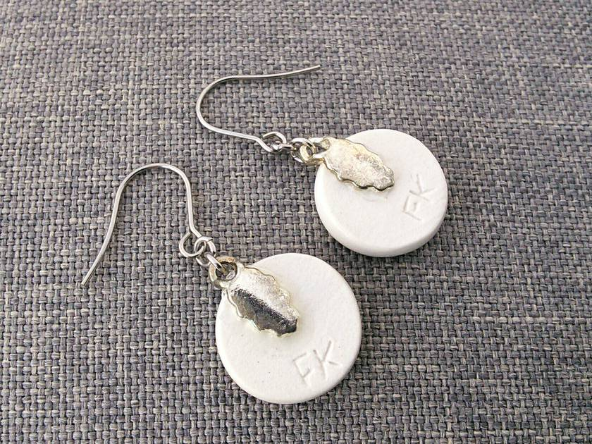Ceramic Earrings Abstract Design
