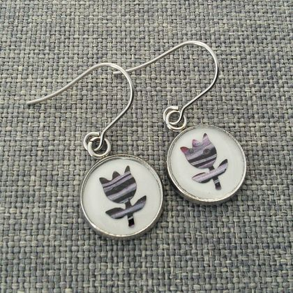 Original Art Flower Earrings