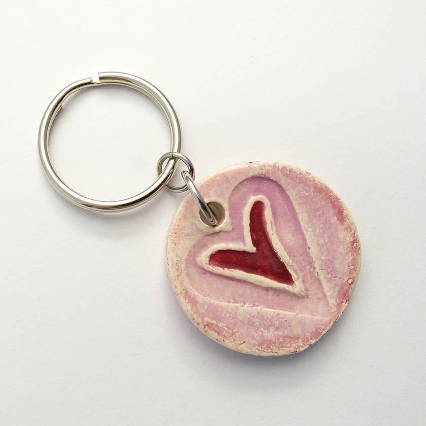 Ceramic Keyring Stamped Heart