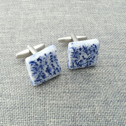 Ceramic Cufflinks Blue and White