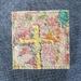 Yellow Cross Textile Art Brooch