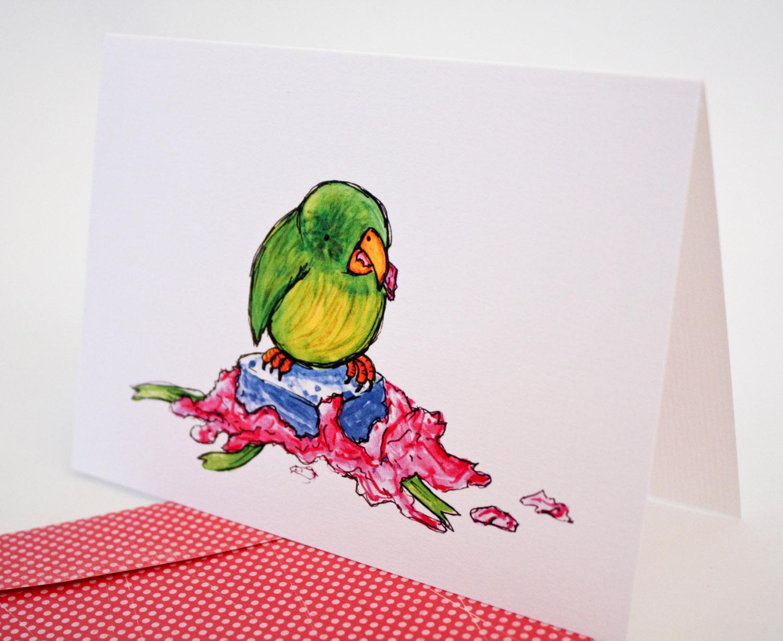 Naughty Bird Christmas Card Kakapo Felt
