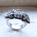 Chunky Antique-Look Sterling Silver Rose Ring.
