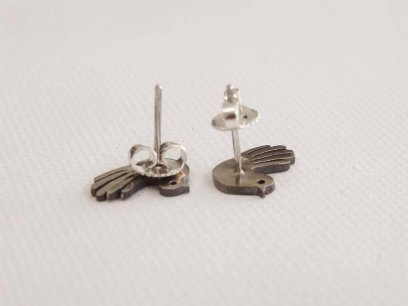 Native New Zealand Fantail Stud Earrings