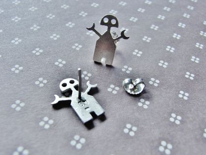 Mini-Bot8000 Post Earrings – Silver.
