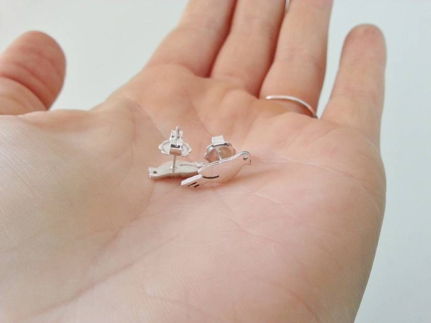 Lovey Dove Bird Stud Earrings - Made from polished Sterling Silver.