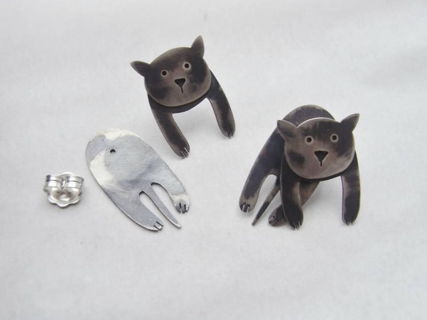 """""""Chillin' Cats"""" Stud Earrings"""