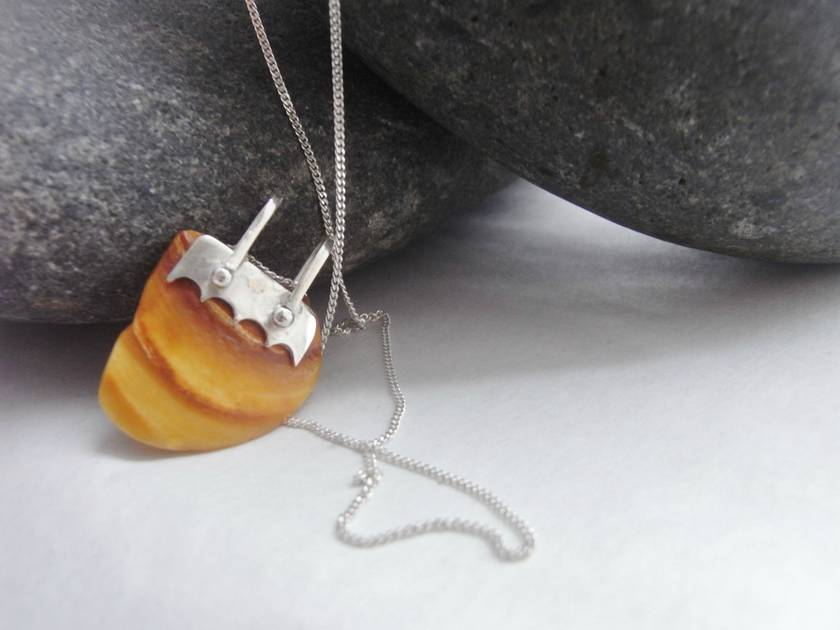 Natural Shell Pendant with Silver