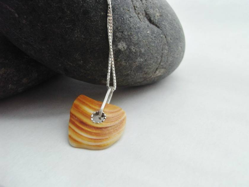 Natural Shell Pendant with Silver Rivet