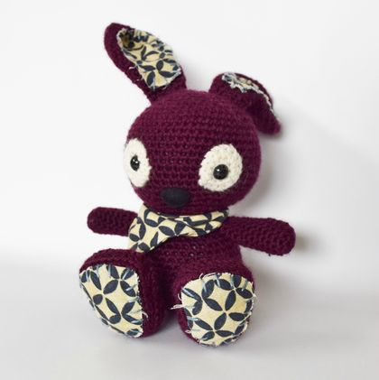 Aubergine Coloured Amigurumi Bunny Rabbit with Neckerchief