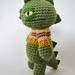Grumpy Green Dinosaur! Crochet Amigurumi Godzilla Soft Toy wearing a Jersey!