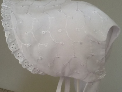 PERFECT PRETTY and Practical Sunhat / Bonnet - WHITE BROIDERIE ANGLAISE COTTON FABRIC