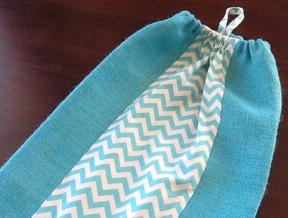 Plastic Bag Holder - AQUA HESSIAN AND CHEVRON TRIM - PERFECT MOTHERS DAY GIFT