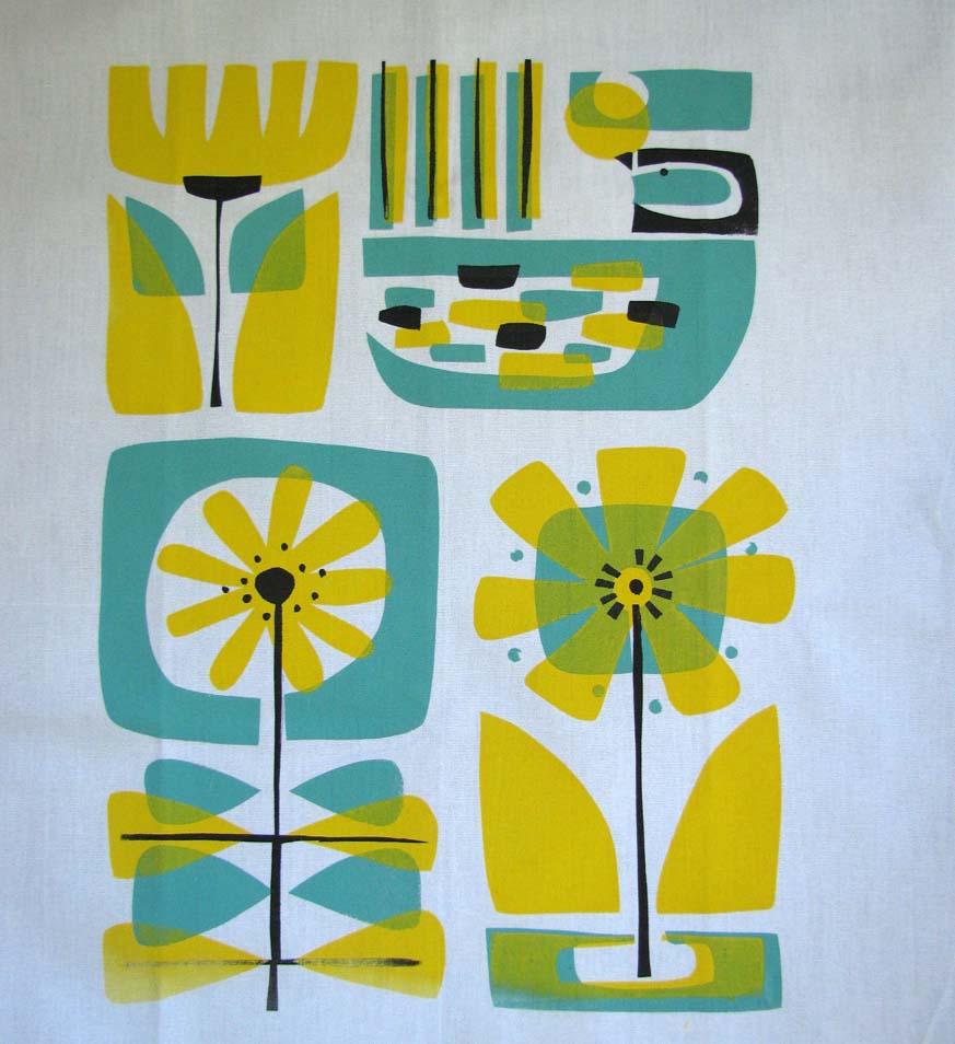 Bulk Tea Towels Nz: Fantail & Flowers....hand Printed Tea Towel