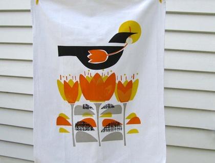 autumn crocus hand printed tea towel felt