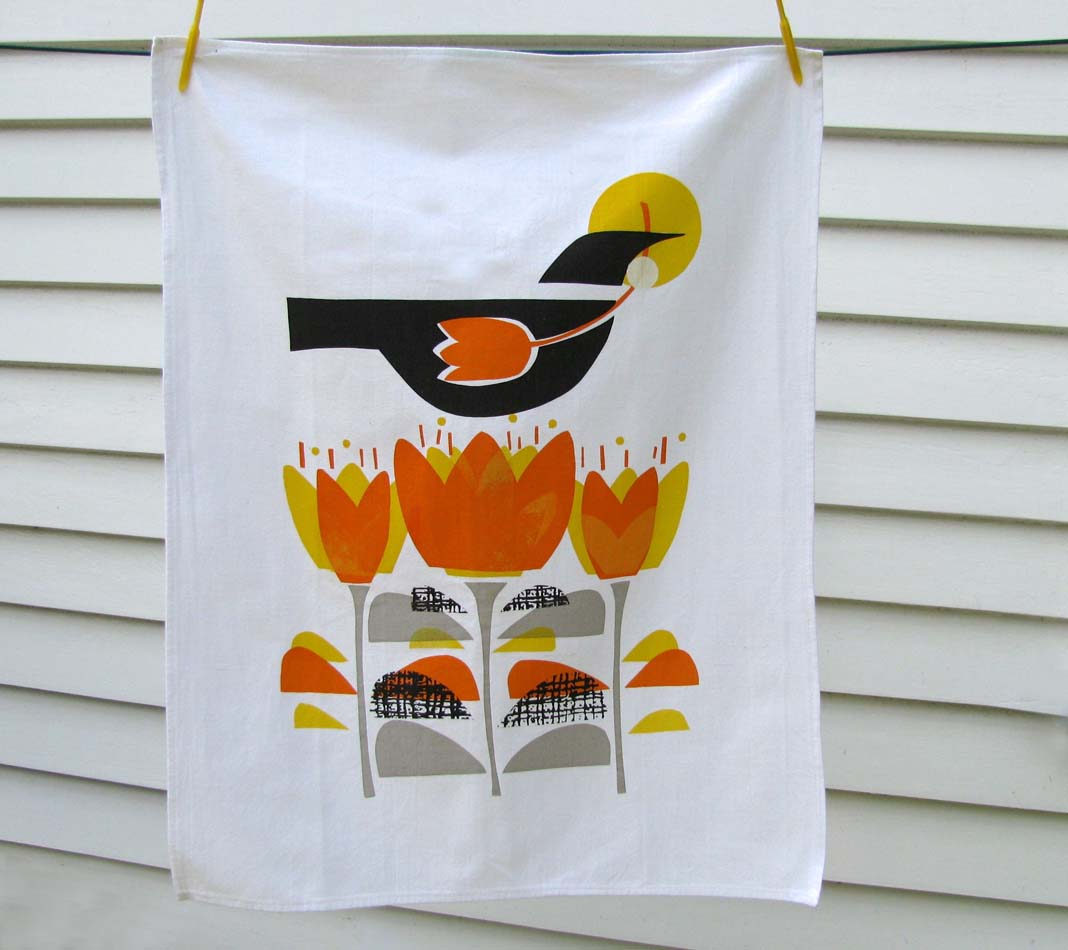 Tea Towels Printed For Schools: Autumn Crocus....hand Printed Tea Towel