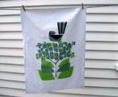 Fantail & Hydrangea ....hand printed Tea Towel