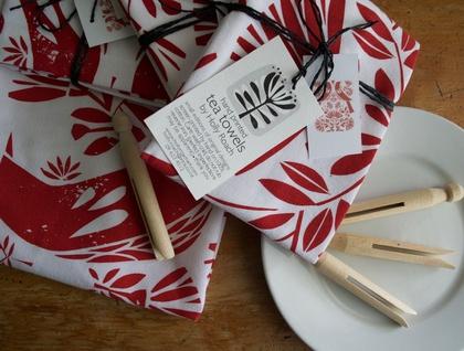 Festive Red Two Tui Tea Towel...hand screen printed towel