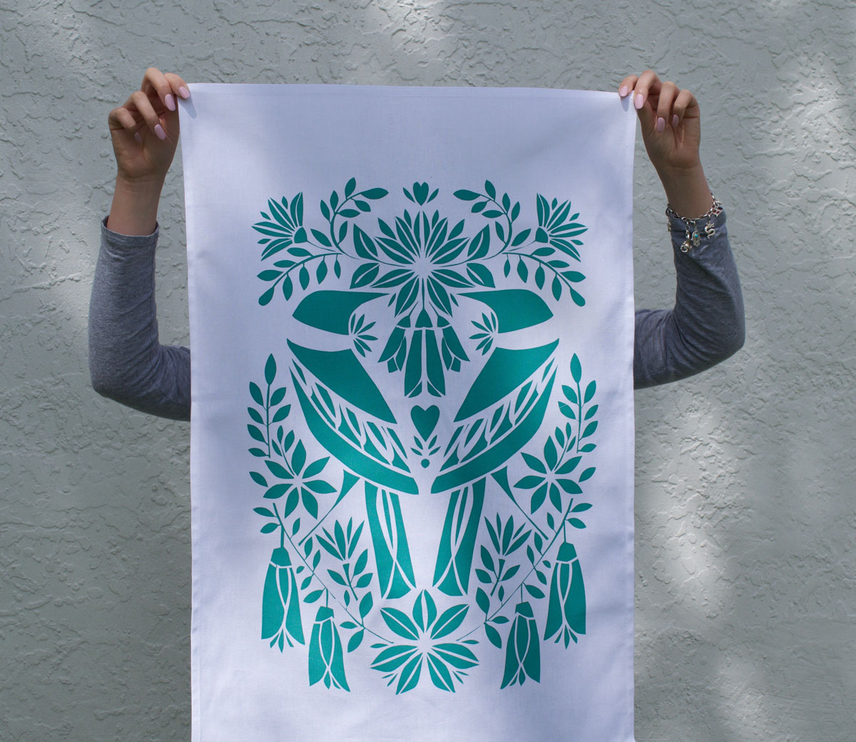 Tea Towels Printed For Schools: Two Teal Tui Limited Edition Hand Screen Printed Tea Towel