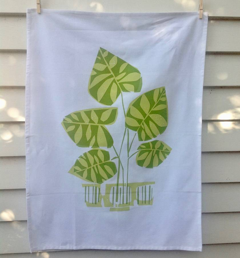 Potted Monstera    limited edition hand screen printed Tea Towel