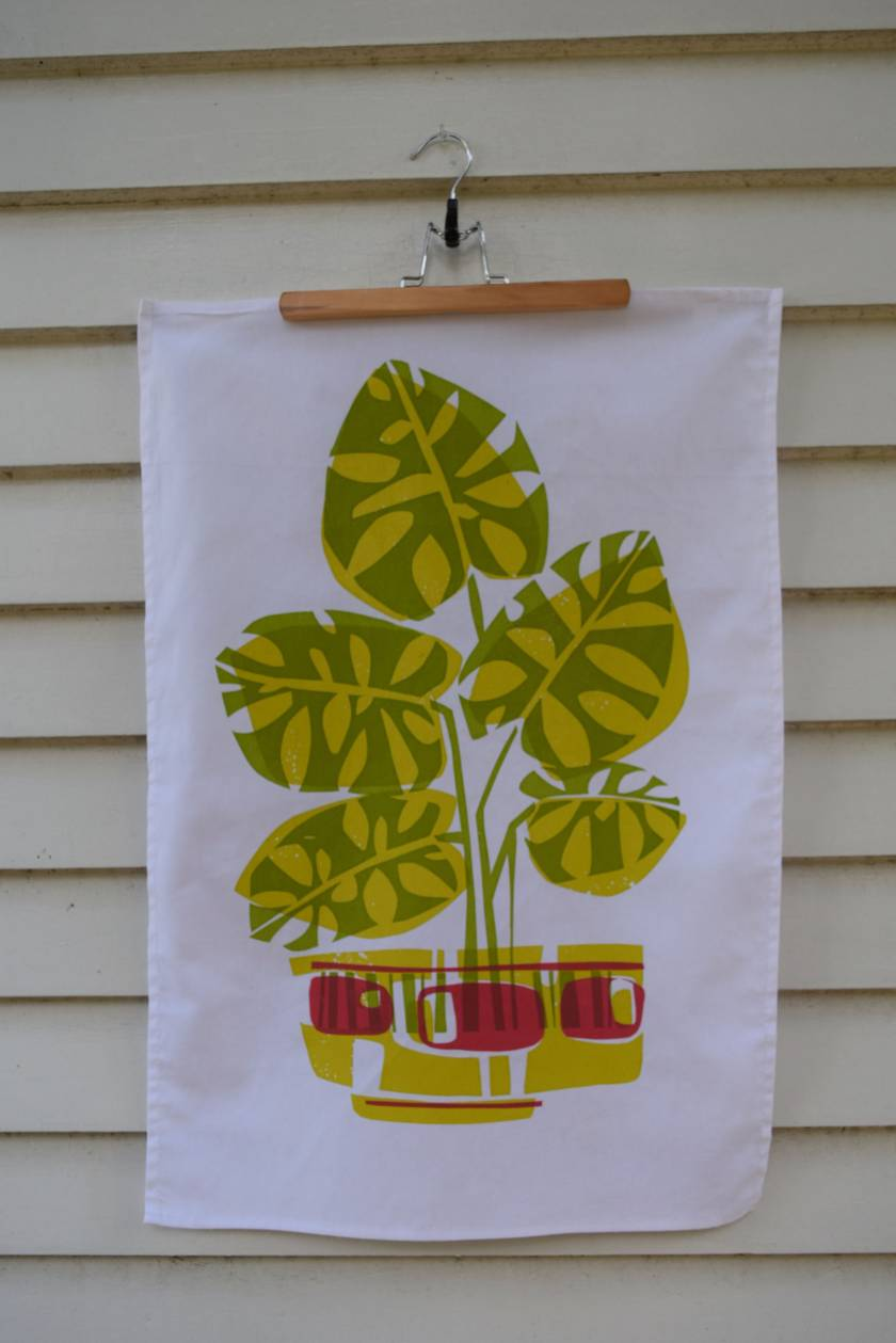 2 Colour Potted Monstera    limited edition hand screen printed Tea Towel
