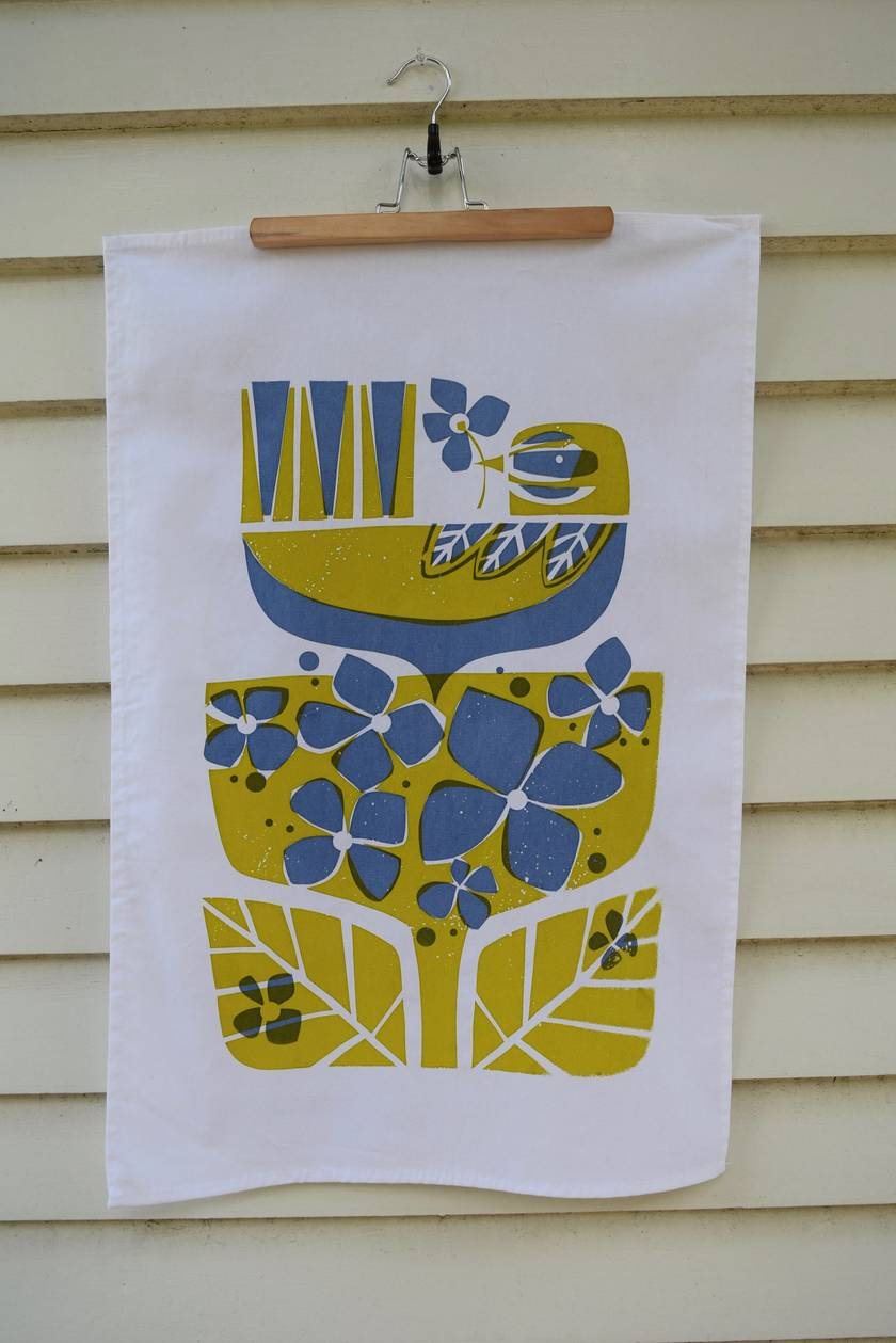 Hydrangea + Fantail  2 Colour Hand Screen Printed Tea Towel