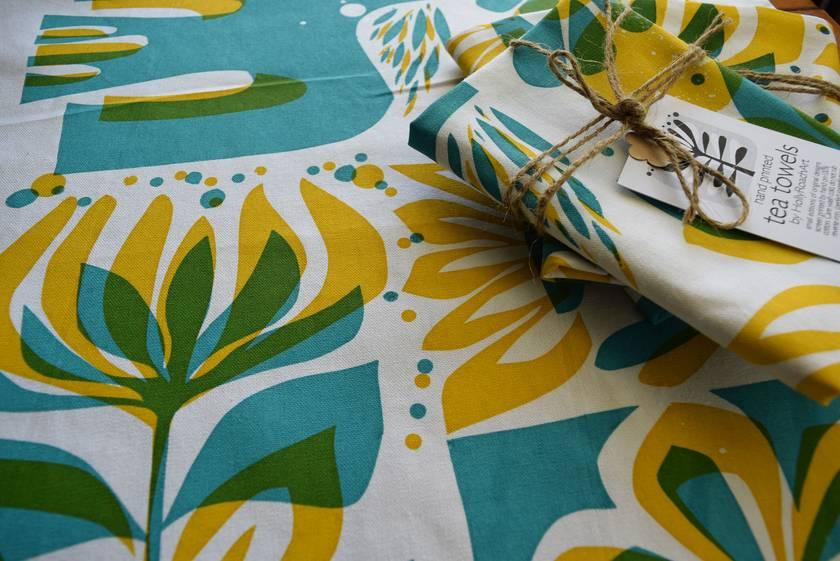 Flowers + Bird....hand printed Tea Towel
