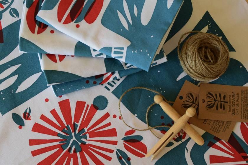 Tuis + Pohutukawa Hand Screen Printed Tea Towel