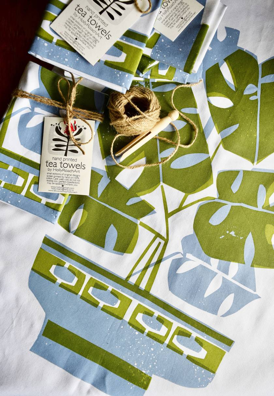 Lilac + Avocado  Monstera Tea Towel