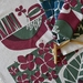 Hydrangea + Fantail  Plum + Grey Colour Hand Screen Printed Tea Towel