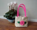GORGEOUS LITTLE GIRLS TOTE BAG MADE FROM VINTAGE WOOL - FOR COLLECTING EASTER EGGS