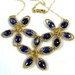 Blue Kyanite and Gold Flower Necklace