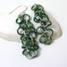 Sterling Silver and Green Aluminium Shaggy Chainmaille Earrings