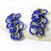 Sterling Silver and Violet Aluminium Shaggy Chainmaille Earrings