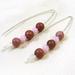 Rhodonite and Swarovski Crystal V Style Earrings
