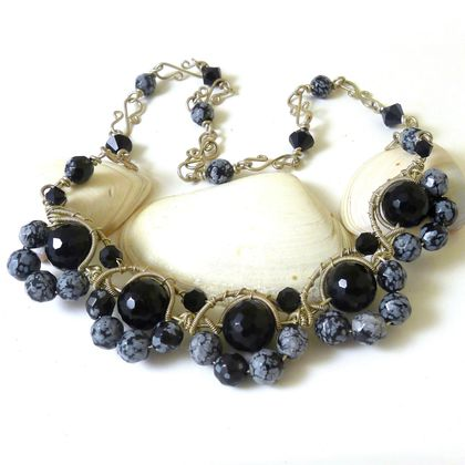 Onyx and Snowflake Obsidian Necklace - Midnight Dreaming