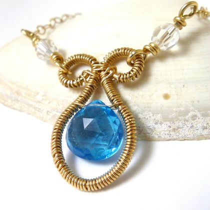 Swiss Blue Topaz and Crystal Gold Necklace