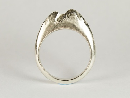 Hand Carved Sterling Silver Mountain Ring