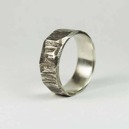 Wide bark textured ring in Blackened Sterling Silver