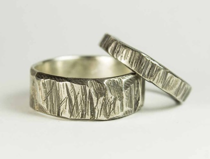 Pair of Bark textured rings in Blackened Sterling Silver
