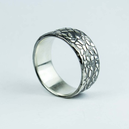 Folium Ring - blackened sterling silver