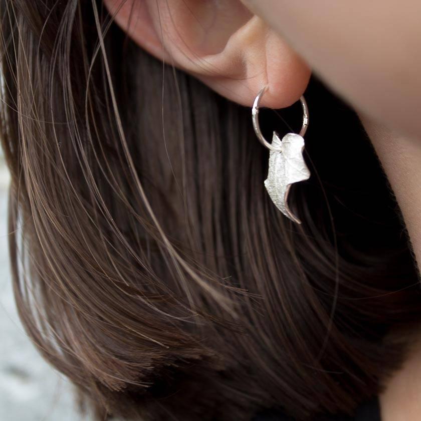 Ivy leaf hoop earrings
