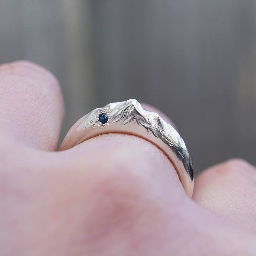 Hand Carved Sterling Silver Mountain Ring with Ceylon blue Sapphire