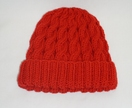 Red Cable Beanie   100% Merino