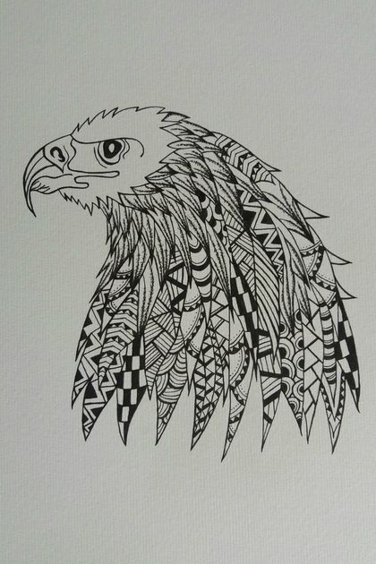 A3 Handdrawn Eagle Drawing