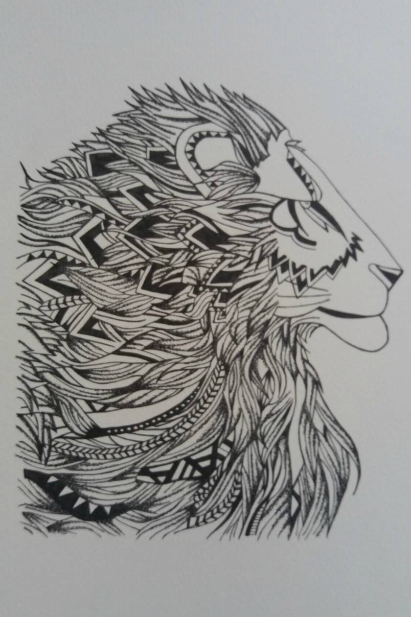 A3 Handdrawn Lion Profile Drawing