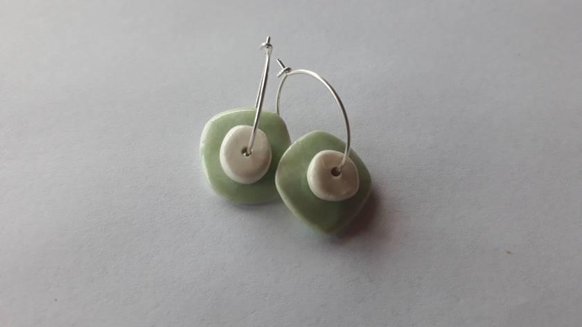 Handmade Ceramic Earrings - White on Green