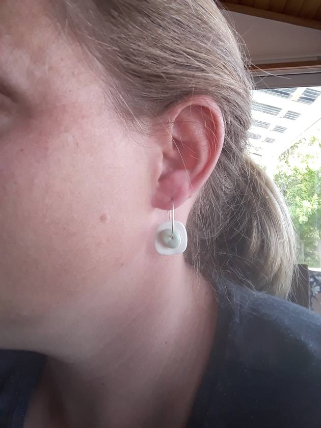 Handmade Ceramic Earrings - Green on White